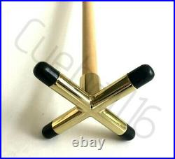 2 x 36 1 PIECE POOL or SNOOKER CUES With BRASS CROSS & BRIDGE RESTS For TABLES