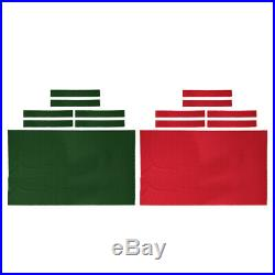 2pcs Pool Table Cloth Felt Snooker Accessory for 9' Billiard Table Green Red