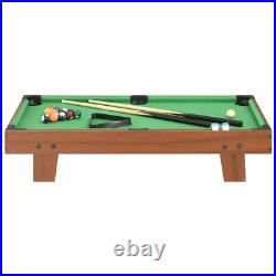 3 Feet Mini Portable Pool Table Brown and Green Indoor Game with Accessories