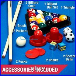 3 In 1 Combo 48 Inch Game Table Pool Hockey Foosball Accessories Included