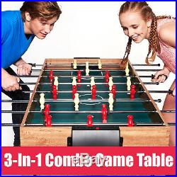 3 In 1 Game Table Hockey Pool Billiard Soccer Foosball Family Sports Accessories