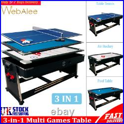 3 in 1 Pool Table Top Multi Games Combo Air Hockey and Table Tennis Accessories