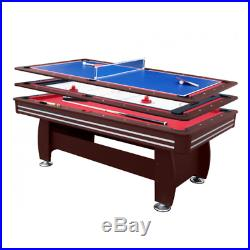 3in1 pool table table tennis air hockey board 7ft new in box accessories red