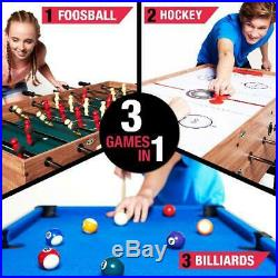 48 3 In 1 Combo Pool, Hockey & Foosball Game Table, Accessories Included