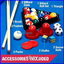 48 Inch 3 In 1 Combo Game Table Pool Hockey Foosbal Accessories Included