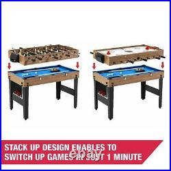 48 Inch 3-in-1 Combo Sports Game Table Pool Billiards Hockey, Accessories Inc