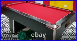 6 Foot Slate Bed Pool table Black with red cloth and full accessory pack