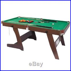 6Ft Folding Pool Snooker Billiards Table With Green Cloth Balls And Accessories