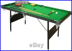 6ft Crucible Pool or Snooker Table 2-in-1 Fold Up Table with Game Accessories