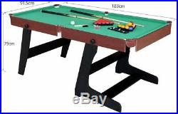 6ft Folding Snooker Pool Table with Accessories