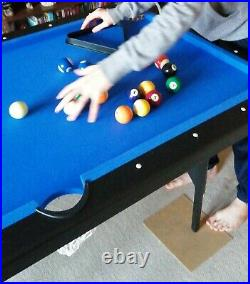 6ft x 3ft Tek Score folding mdf bed pool table with accessories