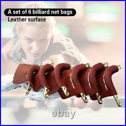 6pcs Leather Billiard Pool Snooker Table Net Pockets Set Replacement Ball Bags