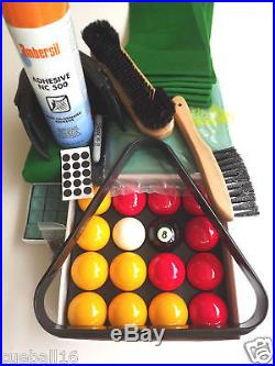 6x3 RECOVERING CLOTH / SERVICE, Balls, Chalk KIT FOR 6ft 6x3 ENGLISH POOL TABLES
