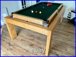 7X4 Rollover Snooker Pool Dining Table Oak Convertible Inc Accessories & Chairs