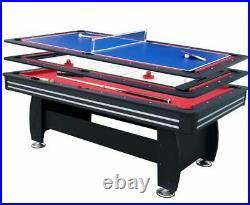 7ft 3in1 Pool Table Tennis Slide air Hockey MultiGame Set Mahogany Accessories