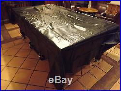 7ft Black HEAVY Duty WATERPROOF POOL TABLES COVER Soft Canvas Backed Inside