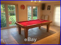 7ft Pool Snooker Dining Table Adjustable Height Inc 8 Chairs & Accessories