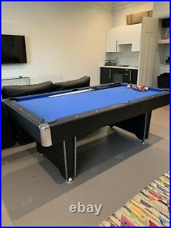 7ft Pool Table Black/Blue with Accessories