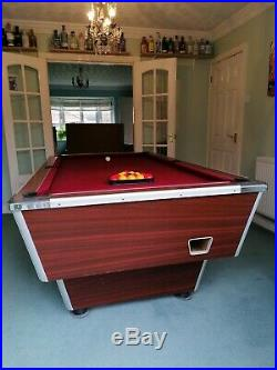 7ft Red Felt, Slate Bed, Freeplay Pub Pool Table with accessories