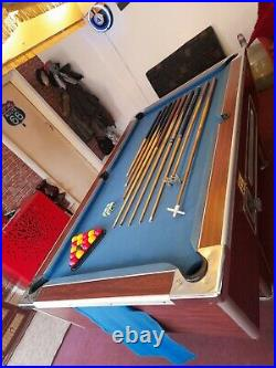 7ft Slate Coin Operated Working Pool Table with pool table light and accessories