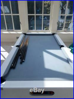 7ft x 4ft Custom Made Slate Bed Pool Table White/Chrome/Grey Cloth + Accessories