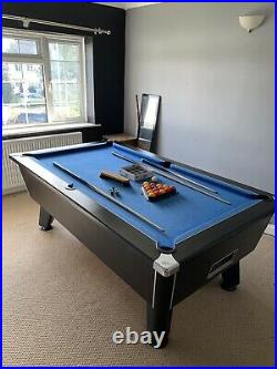 7ft x 4ft, Slate Bed Pool Table. Blue Cloth, Black Finish + Accessories