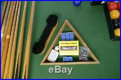 8ft x 4ft slate-bed Powerglide Snooker & Pool & Table Tennis table + accessories