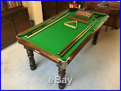 Antique George Edwards 6x3 Slate Pool Snooker Table New Re Cover + Accessories