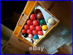 Antique Tabletop Snooker Table, Balls, Cues and Accessories in fair condition