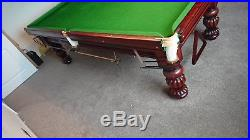 Antique Wright & Co 3/4 Slate bed snooker pool table with accessories and light
