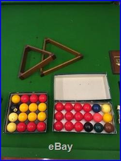 Antique billiard table (8x4) and set of accessories, pool and snooker table