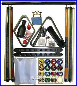 Billiard Pool Table Accessory Kit With Dark Marble Ball Set Black Finish