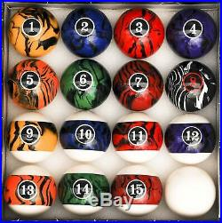 Billiard Pool Table Accessory Kit With Dark Marble Swirl Style Ball Set