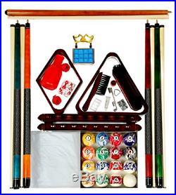Billiard Pool Table Accessory Kit With Swirl Marble Style Ball Set