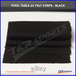 Black Double-sided Wool Cloth Felt + 6X Strips for 7 8 Pool Snooker Table UK