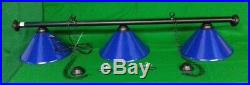 Black Leather Pool Snooker Table Luxury Lighting & Light Blue Shades Chandelier