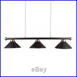 Brass Snooker or Pool Table Light Rail with 3 Black Leather Shades