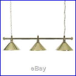 Brass Snooker or Pool Table Light Rail with 3 Brass Shades