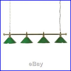 Brass Snooker or Pool Table Lighting Rail with 4 Green Shades