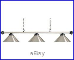 Canopy Lighting Pool Table Canopy Brushed Steel with Black Bar With 3 Shades