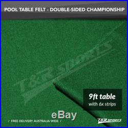 Championship Green Double-sided Wool Pool Table Cloth Felt+6X Strips 9 UK