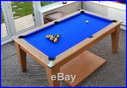 Classic Diner Pool Dining Table Slate Bed, 6ft, Blue Cloth with Accessories