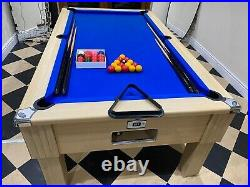DPT Slate 6ft Oak Emirates Pool Table Very Good Condition Cues & Balls included