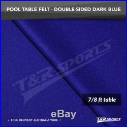 Dark Blue Double-sided Wool Pool Snooker Table Top Cloth Felt for 7/8 UK