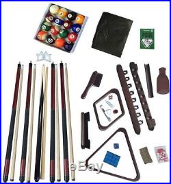 Deluxe Billiards Accessory Kit Pool Table Game Indoor Cue Kit Mahogany Finish