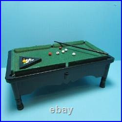 Dollhouse Miniature Wood Pool Table in Black with Rack & Accessories T5984