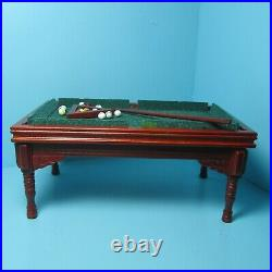 Dollhouse Miniature Wood Pool Table in Mahogany with Rack & Accessories T3476