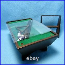 Dollhouse Miniature Wood Pool Table with Accessories in Walnut CLA91324