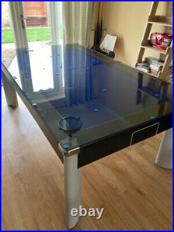Fusion Pool Table 7ft Full Size with Glass Dining Top Blue Baize + Accessories