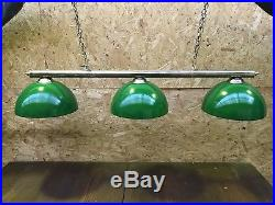 Green Brass Pool Snooker Table Rail Light 3 Dome Pub Home authentic